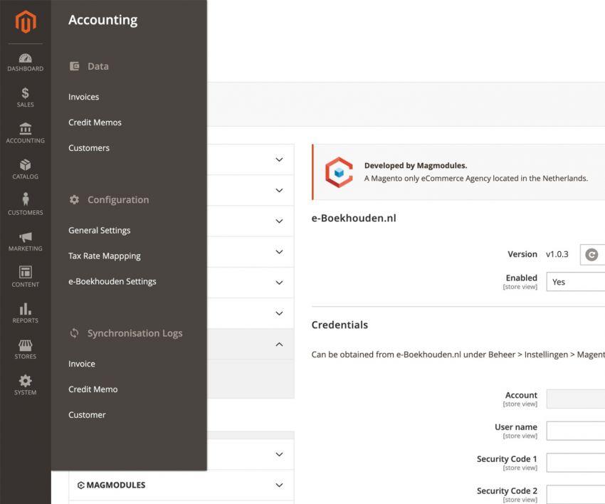 Het menu van de boekhoudkoppeling met E-Boekhouden.